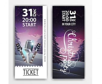 Tickets with winter scenery and guitars for Christmas party