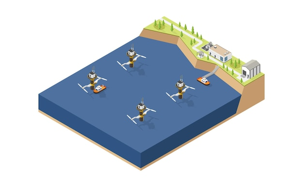Tidal energy tidal power plant in isometric style