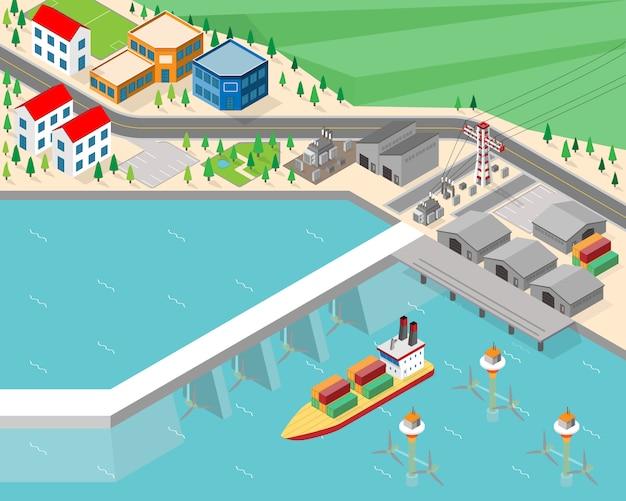 潮力発電所、等尺性グラフィックの潮汐エネルギー