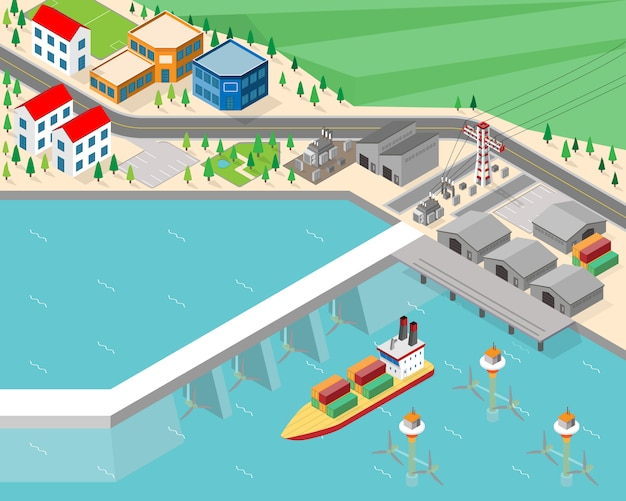 Tidal power plant, tidal energy in isometric graphic