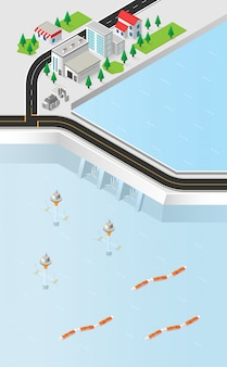 Tidal and wave energy in isometric graphic