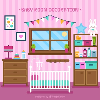 Tidy baby room with crib in flat design