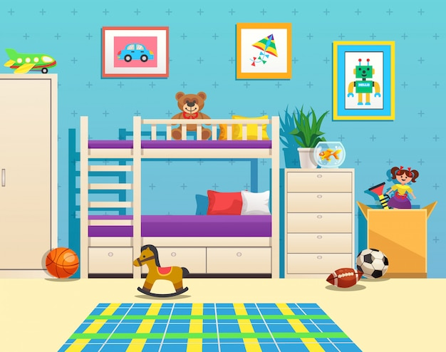Аккуратный интерьер детской комнаты с двухъярусными картинами на стенке аквариума с рыбками и игрушками