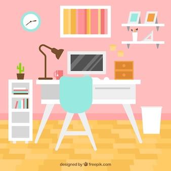 책상과 컴퓨터가있는 깔끔한 객실