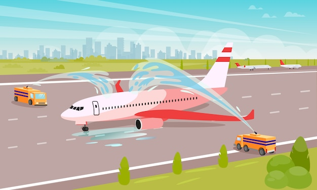 Tidy up airplane at parking flat illustration.