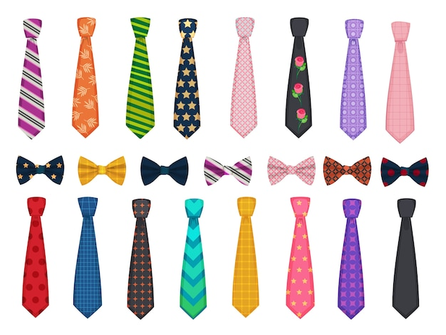 Tie collection. men suits accessories bows and ties fashioned  illustrations. necktie accessory, clothes striped, tie bow collection