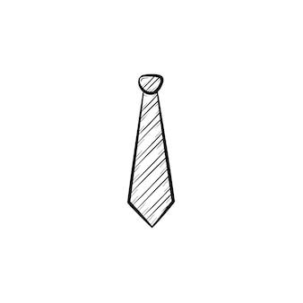 넥타이 손으로 그린 개요 낙서 벡터 아이콘. 인쇄, 웹, 모바일 및 흰색 배경에 고립 된 infographics에 대 한 넥타이 스케치 그림.