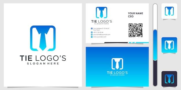 Tie logo with business card design vector premium