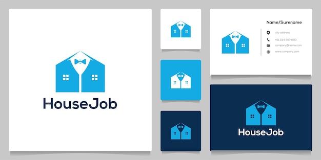 넥타이 양복 집 모양 로고 디자인 일러스트 레이션