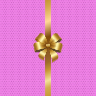 Tied gold bow with ribbon in center of  pink