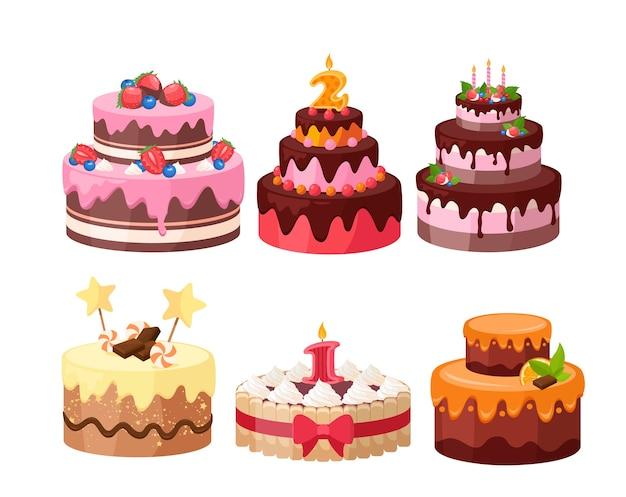 계층 케이크 세트. 사탕, 초콜릿, 딸기 및 과일로 장식 된 생일 및 웨딩 케이크