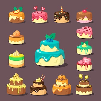 Tiered cakes with cream and fruit flat set. decorated confections. glazed bakery items. confectionery products. birthday layered pies with topping.