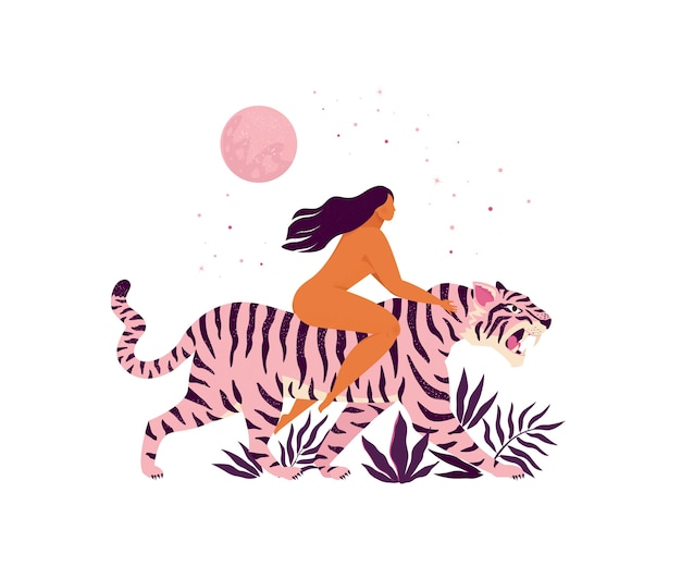虎と女性の感動的なイラスト