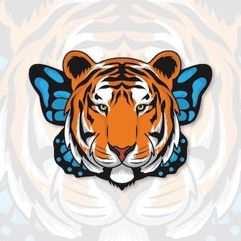 Иллюстрация тигра и бабочки