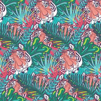 호랑이와 단풍 숲 원활한 패턴 벡터입니다. 동물의 야생 고양이 머리와 이국적인 나무 잎, 야수 줄무늬 총구, 자라는 야자수. 정글 살쾡이 생활과 식물 자연 허브 평면 그림