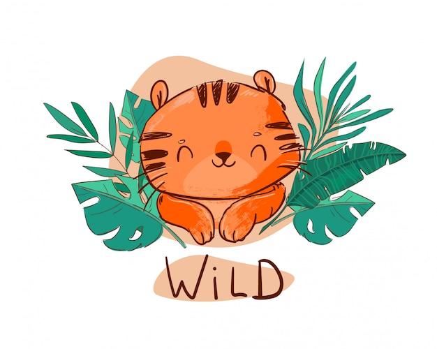 Тигр и зеленые листья. милый веселый тигр с иллюстрацией тропических листьев.