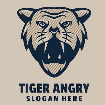 Тигр злой мультфильм логотип вектор