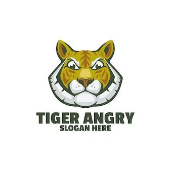 Тигр злой логотип, изолированные на белом фоне
