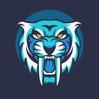 Тигр животных талисман головой вектор иллюстрации логотип