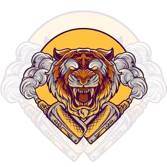Иллюстрация магазина электронных сигарет тигра