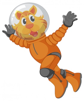A tiger astronaut character