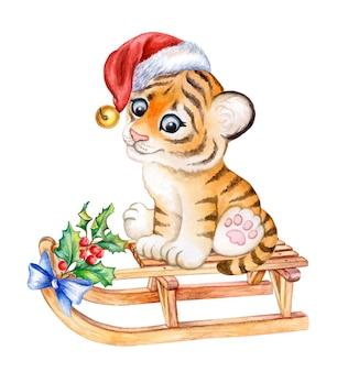 Tiger baby toy tiger cub in santa hat watercolor new years tiger symbol of 2022