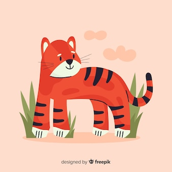 Tiger background with grass