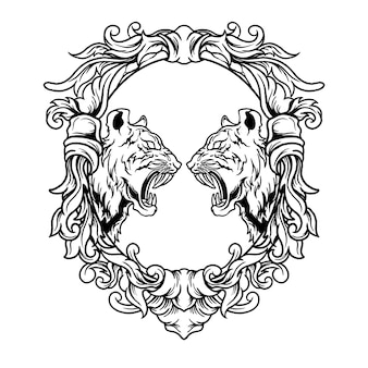 Tiger battle illustration