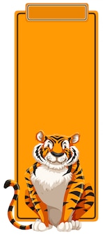 A tiger on blank template