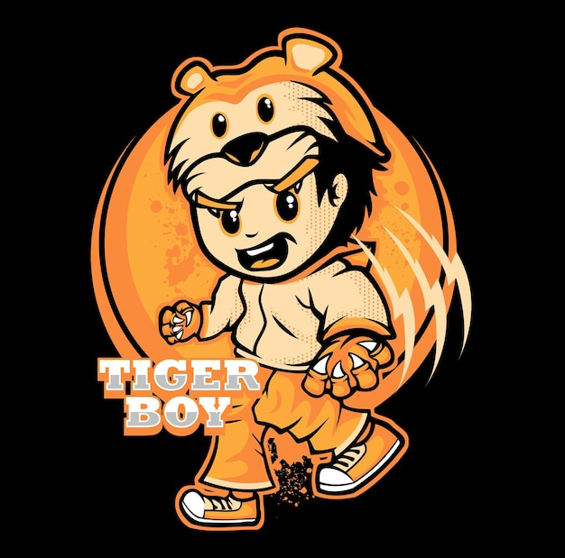 Tiger boy cartoon character vector