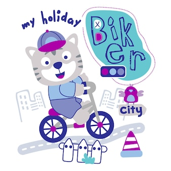 Tiger on the bycycle funny animal cartoon