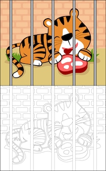 Tiger cartoon on cage