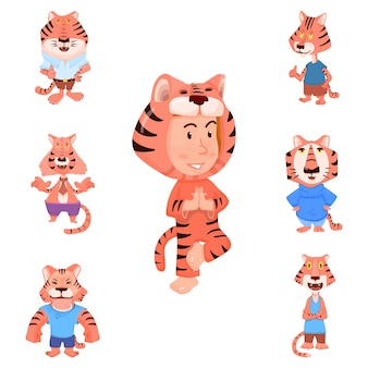 Tiger cartoon characters flat style and child in tiger carnival costume. Premium Vector