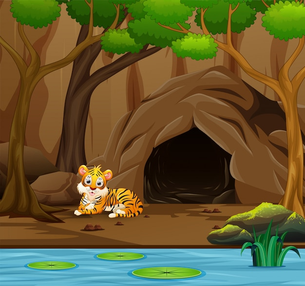 Tiger cartoon in front of the cave