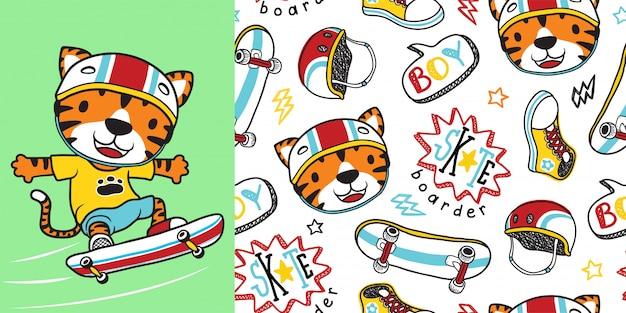 Tiger cartoon with skateboarding equipment on seamless pattern