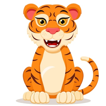 The tiger character sits.