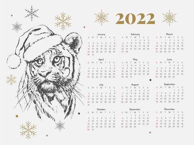 Tiger christmas calendar new year sketch week starts on sunday
