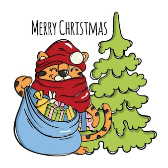Tiger christmas santa claus with a bag of gifts laughing cute animal baby and tree new year congratulation cartoon hand drawn sketch vector illustration set