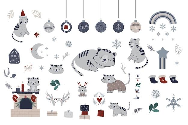タイガークリスマススカンジナビアコレクション。冬の雪片の虎のクリスマスツリーのベクトル手描き要素。