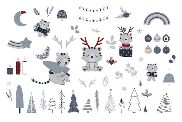 タイガークリスマススカンジナビアコレクション。