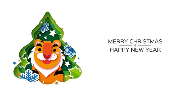 Tiger. christmas tree greeting card. happy new year and merry christmas. chinese new year. winter holidays