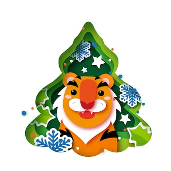 Tiger. christmas tree greeting card. happy new year and merry christmas. chinese new year. winter holidays.