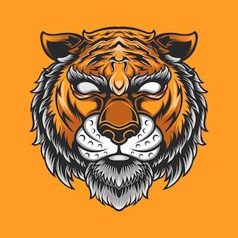 オレンジ色の背景に分離された虎ぽっちゃり