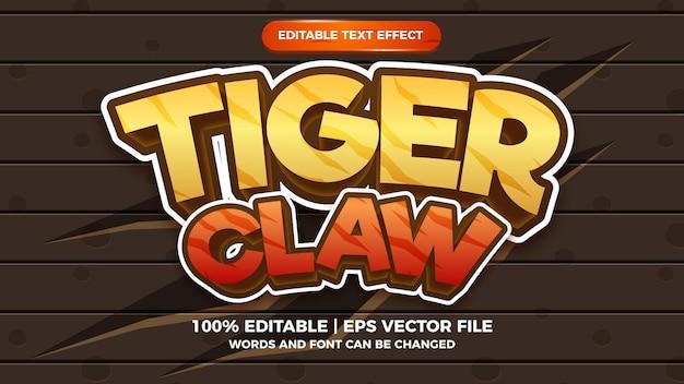 Редактируемый текстовый эффект тигровый коготь 3d мультяшном стиле