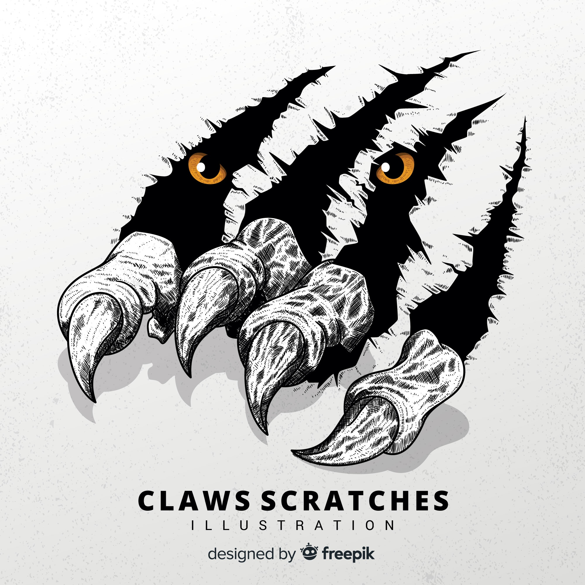 Tiger claw scratches illustration