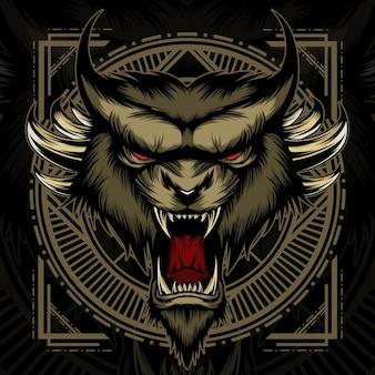 タイガークリーチャーヘッドマスコットロゴ