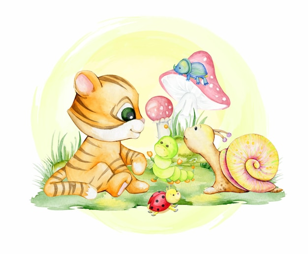 Tiger cub, ladybug, beetle, caterpillar. watercolor, clipart, on an isolated background.