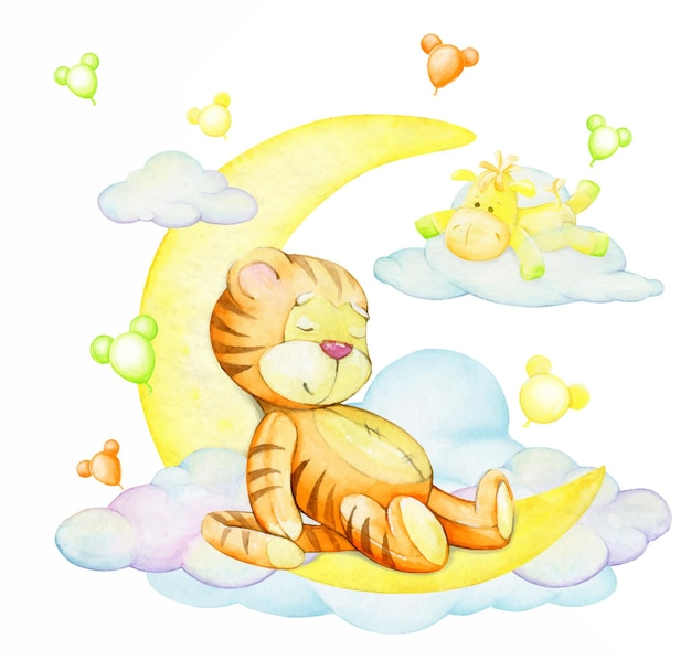 Tiger cub, sleeping, on the moon, a horse, lying on a cloud. a watercolor concept, cartoon style.