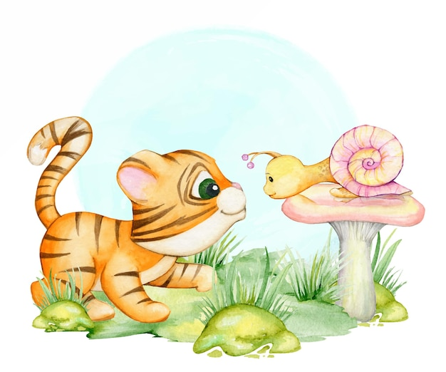 A tiger cub, and a snail, a mushroom, a watercolor clipart, in a cartoon style.