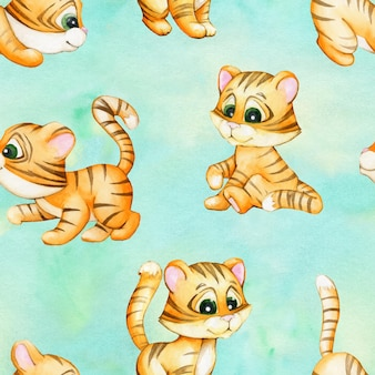 Tiger cubs in cartoon style on a turquoise watercolor background. seamless pattern.